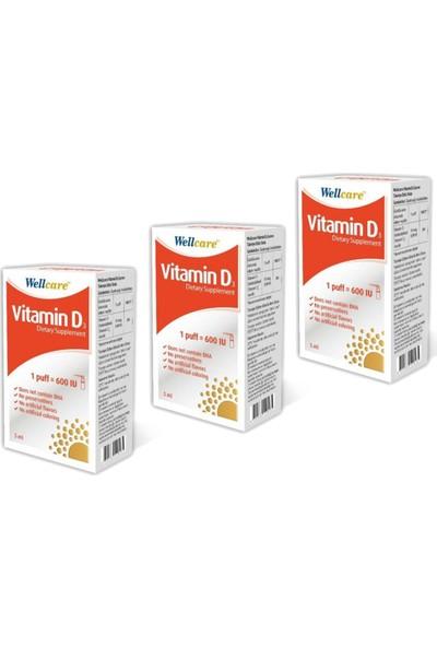 Wellcare Vitamin D3 600 Iu 5 ml Sprey x 3 Adet