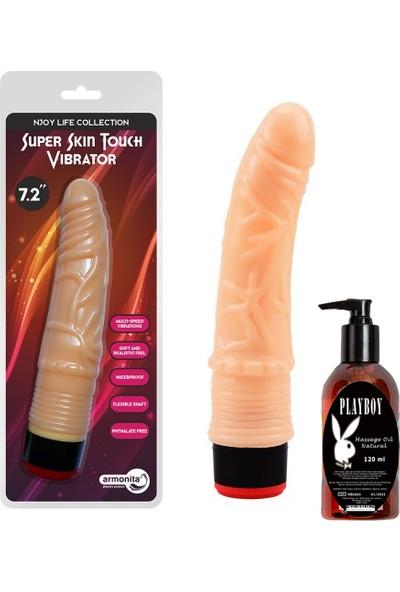 Arm Ince Uçlu Damarlı Realistik Vibratör ve Playboy Masaj Yağı