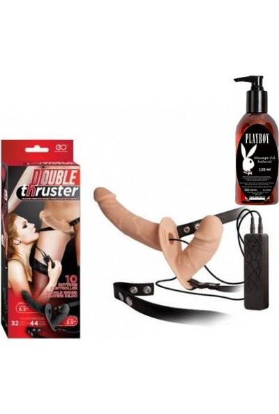 Nmc Titreşimli Çift Taraflı Protez Dildo ve Playboy Masaj Yağı