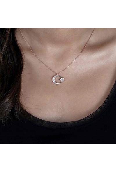 Cengiz Eker Pırlanta Modeli Ay Yıldız Gümüş Kolye