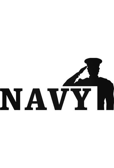Universal Navy Asker Salute Sticker Araba Oto Arma Duvar Sticker Ev Dekoratif Çıkartma 20 x 20 cm Siyah