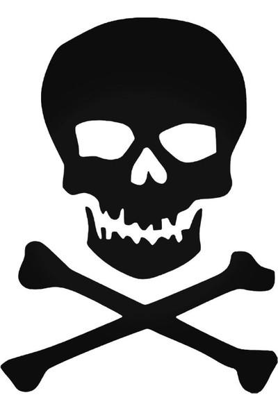 Universal Kuru Kafa ve Ölüm TehlikesiJolly Roger Pirate Style 4 Sticker Araba Oto Arma Duvar Sticker Ev Dekoratif Çıkartma 20 x 20 cm Siyah