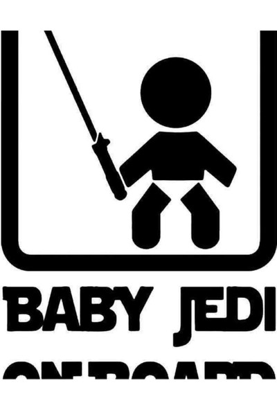 Universal Baby Jedi On Board Sticker Araba Oto Arma Duvar Sticker Ev Dekoratif Çıkartma 20 x 20 cm Siyah