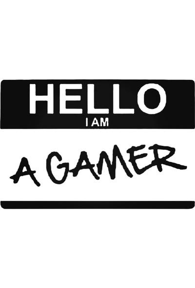 Universal Hello I Am A Gamer Sticker Araba Oto Arma Duvar Sticker Ev Dekoratif Çıkartma 20 x 20 cm Beyaz