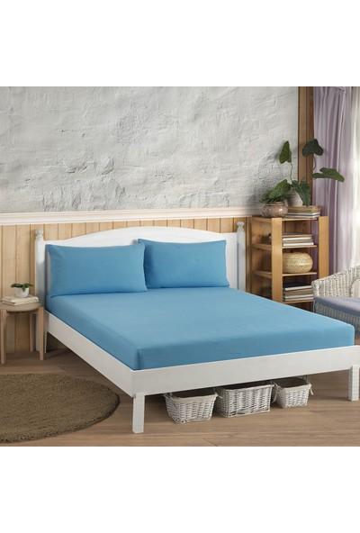 Adelya Home Çift Kişilik Lastikli Çarşaf Takımı(Yastık Kılıflı) Ranforce Kumaş 160X200 Mavi