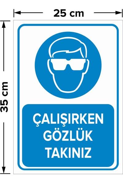 Mıgnatıs - Çalışırken Gözlük Takınız Levhası - Dekote Malzeme 25X35Cm