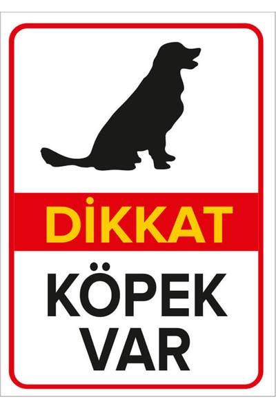 Mıgnatıs - Dikkat Köpek Var Levhası Golden - Dekote Malzeme 35X50Cm