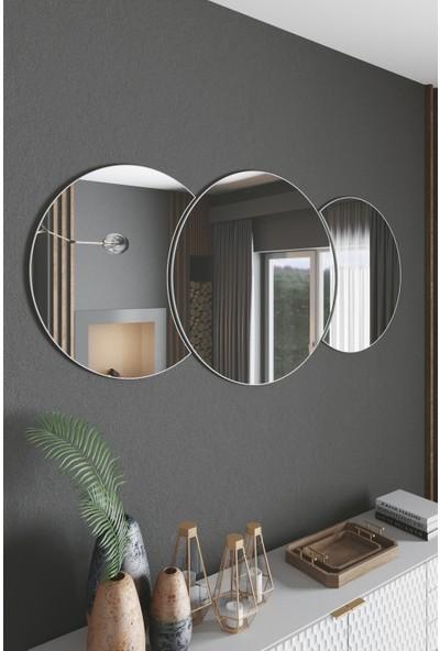 Mirror Dekoratif Ayna 60 x 60 cm 3 Yuvarlak Parçalı