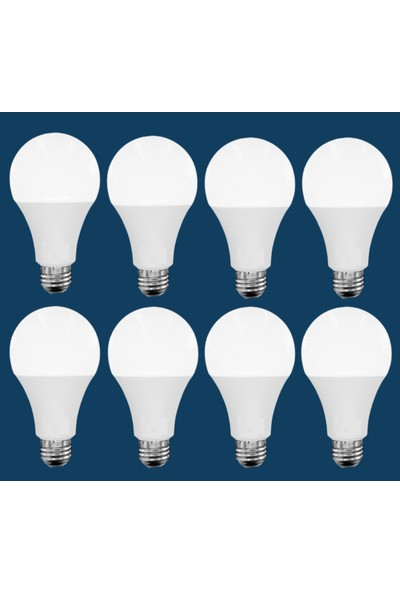Vie 8 Adet LED Ampul 10W Ultra Tasarruflu Ampul - Beyaz Işık E27 Duy