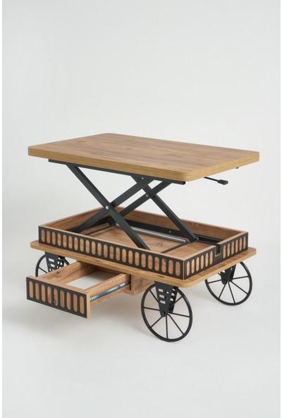 Kolex Akıllı Sehpa, Çalışma Masası, Yemek Masası, Yer Sofrası, Tekerli ve Çekmeceli Çam Renk