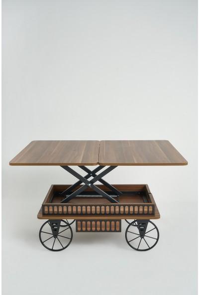 Kolex Akıllı Sehpa, Çalışma Masası, Yemek Masası, Yer Sofrası, Tekerli ve Çekmeceli Ceviz Renk