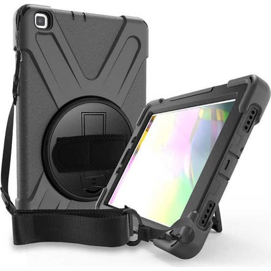 "Fibaks Samsung Galaxy Tab A7 SM-T500 2020 10.4"" Kılıf + Kalem Defender Armor Case 360 Derece Tam Koruma Zırhlı Standlı Askılı"