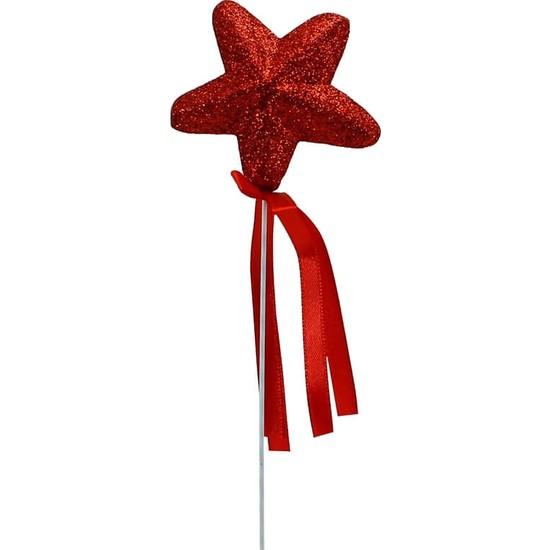 Süsle Bebek Parti Yıldız Çubuk, 23 cm x 5,5 cm Kırmızı - 1 Adet