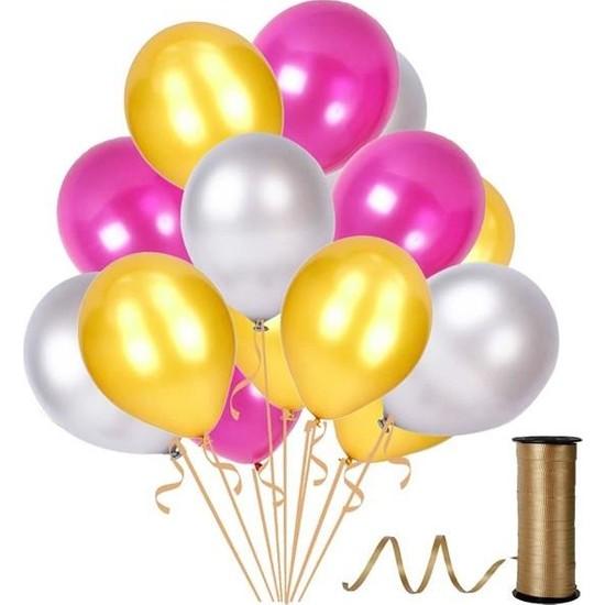 Rafya Hediyeli 100 Adet Metalik Parti Balonu Fuşya - Altın - Gümüş