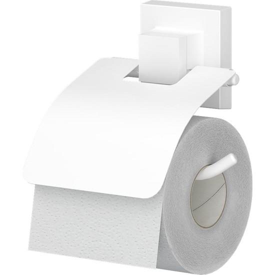 Teknotel Delme Vida Matkap Yok! Easyfıx Yapıskanlı Kapaklı Tuvalet Kağıtlık Beyaz Ef238