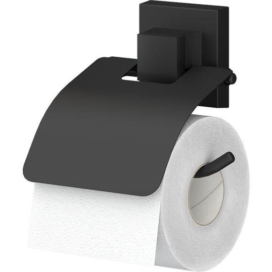 Teknotel Delme Vida Matkap Yok! Easyfıx Yapıskanlı Kapaklı Tuvalet Kağıtlık Mat Siyah Ef238