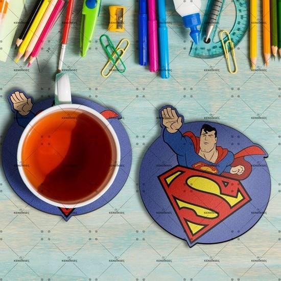 Hipder Superman Baskılı Ahşap Bardak Altlığı