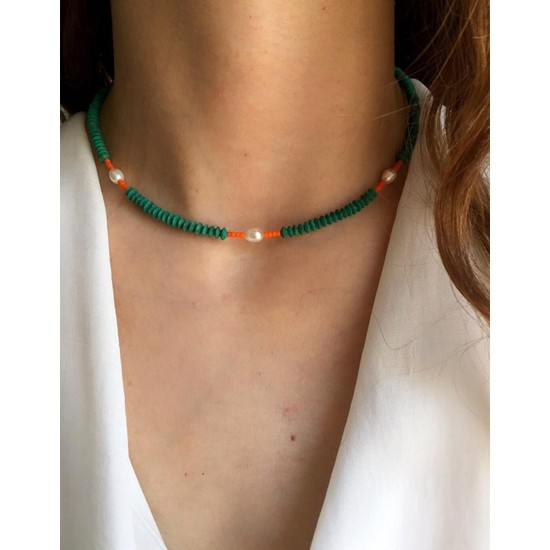 Serpil Jewellery Yeşil-Turuncu Afgan Boncuklu Incili Spor Kolye