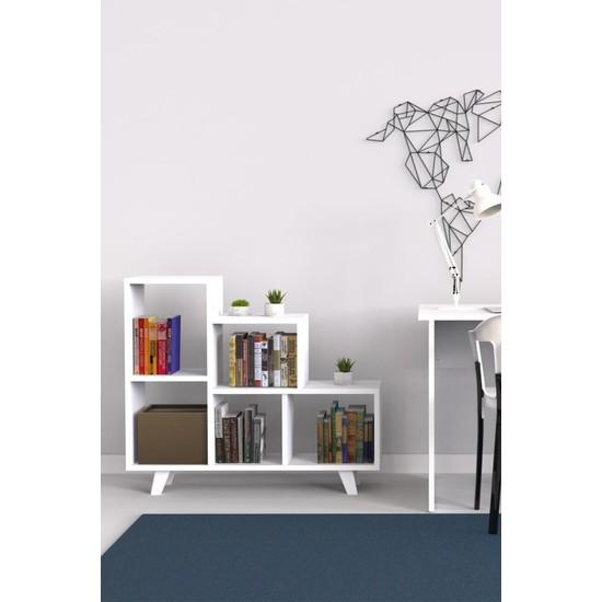 Mimilos K11 Dekoratif Zigzag 5 Beş Bölmeli Merdiven Kitaplık