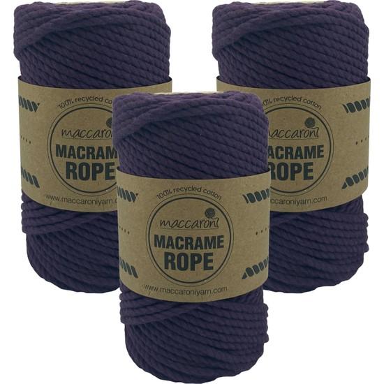 Maccaroni Rope 4 mm Üç Büklüm Pamuk Makrome Tarama İpi Halat 250 gr 3'lü Set
