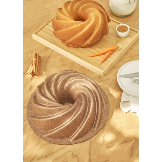 Emsan Girift Golden Pink 25 cm Döküm Kek Kalıbı
