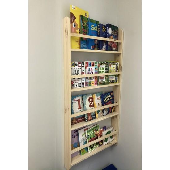 Plus Aksesuar Doğal Ahşap Çocuk Odası Kitaplık Düzenleyici Raf 4 Katlı Kitaplık