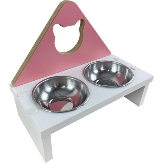 Odun Concept Odunconcept Kedi ve Küçük Irk Köpek Mama ve Su Kabı - Paslanmaz Çelik Kaseli - Pink Cat