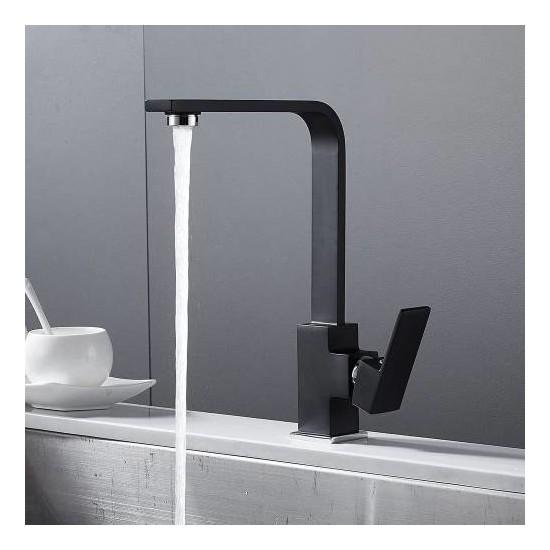 Siyah Yüksek Gövde Mutfak Bataryası Sıcak Soğuk Çift Su Girişli Kare Mutfak Bataryası