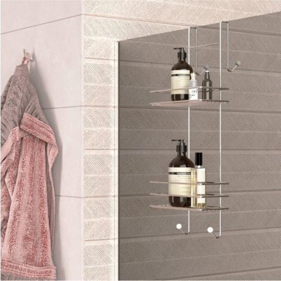New and Single Duşakabin Banyo Rafı Şampuanlık Krom Paslanmaz 2 Katlı Askılı
