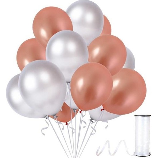 Kullanatparty Rafya 50 Adet Metalik Parti Balonu Rose Gold - Gümüş