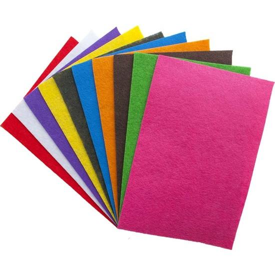 Toptan Keçe İnce Keçe Paketi Karışık Renkler 25 x 25 cm 10'lu