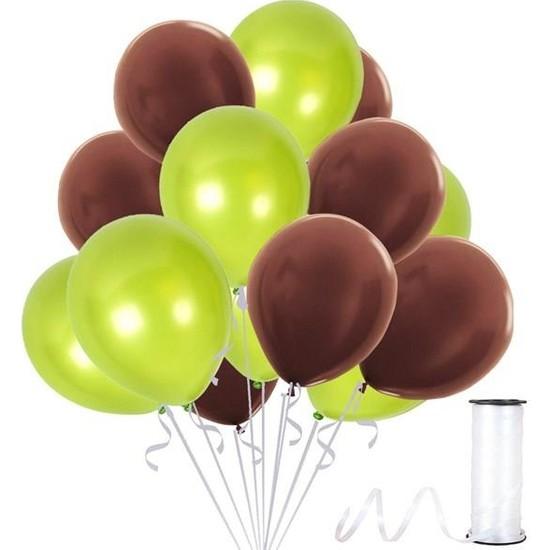 Kullanatparty Rafya 30 Adet Metalik Parti Balonu Kahverengi - Fıstık Yeşili