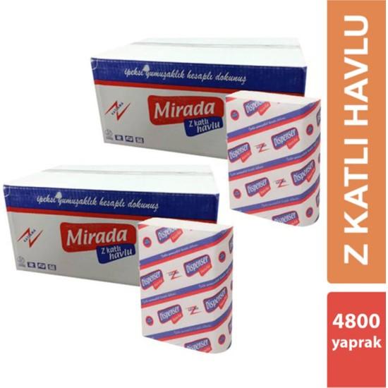 Mirada Z Katlı Kağıt Havlu 200'LÜ 24 Paket Çift Katlı 4800 Yaprak