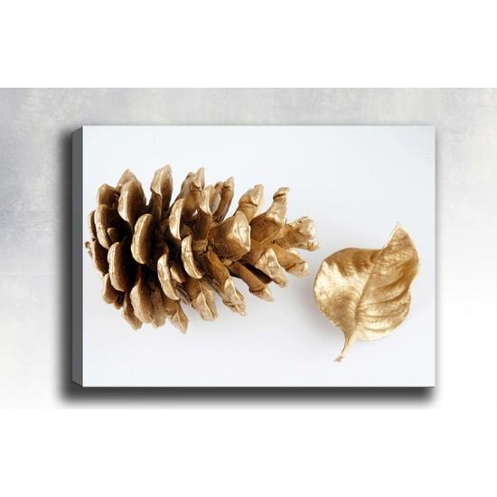 Syronix Altın çam kozalağı ve yaprak kanvas tablo