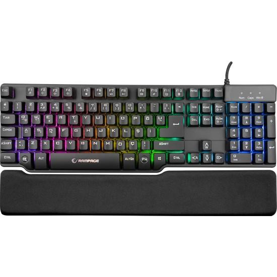 Rampage KB-R88 Siyah USB Mekanik Duygu ve Avuç İçi Dayanağı Gaming Q Klavye