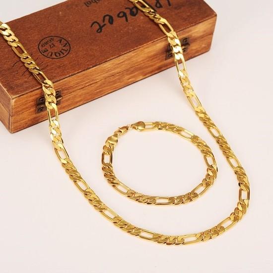 X-lady Accessories Çelik Figaro Unisex Bileklik ve Kolye Zincir Seti Altın Kaplama