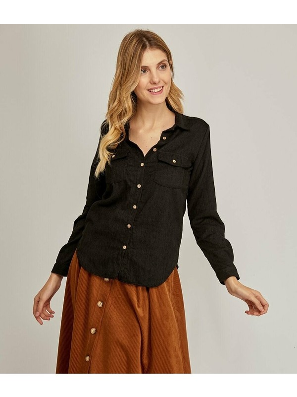 Şamdan Kadın Siyah Gömlek