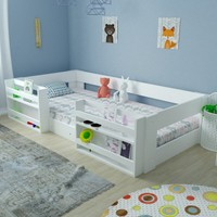 Ninni Mo Montessori Beyaz Kitaplıklı Karyola M6 90X190 Uyumlu