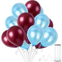Kullanatparty Rafya 100 Adet Metalik Parti Balonu Bordo - Bebek Mavisi
