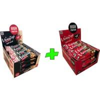 UNIQ2GO Crunchy Mıdı 40 G.- Fıstık Ezmeli Proteinli Bar 16'lı + UNIQ2GO Chocodark Mıdı 38 G. Fındıklı Protein Bar 16'lı (Toplam 32 li Bar)