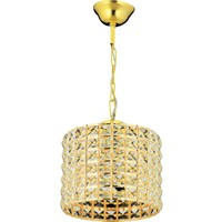 Has Cam Sırma Tekli Gold Kristal Taşlı Sarkıt Avize L
