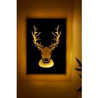Zürafa Tasarım Geyik Işıklı 3 Boyutlu Lazer Kesim Siyah Beyaz Dekoratif Mdf Tablo