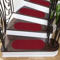 Stepmat Kırmızı Velür Kaymaz Tabanlı Merdiven Basamak Paspası / Halısı