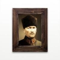 Plustablo Atatürk Portresi Ahşap Çerçeveli Kanvas Tablo