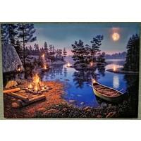 Ion Kanvas Tablo Ledli Göl Manzaralı Duvar Dekorasyon Moda Işıklı Tablo