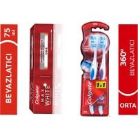 Colgate 360 Optik Beyaz Diş Fırçası Orta 1+1 + Colgate Max White One Beyazlatıcı Diş Macunu 75 ml