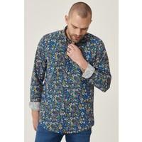 Altınyıldız Classics Tailored Slim Fit Düğmeli Yaka Baskılı %100 Koton Gömlek