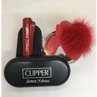 Baskı Adresi İsme Özel Clipper Çakmak ve Kırmızı Tüylü Ayna Seti