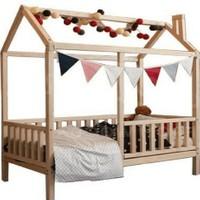 Baby Kinder Lovely Doğal Ahşap Montessori Bebek ve Çocuk Oyun Evi ve Karyolası