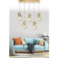 Luna Lighting Modern Luxury Kristal Taşlı 5li Sıralı Sarkıt LED Avize Gold Sarı